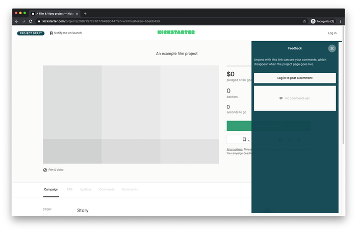 An example project preview page
