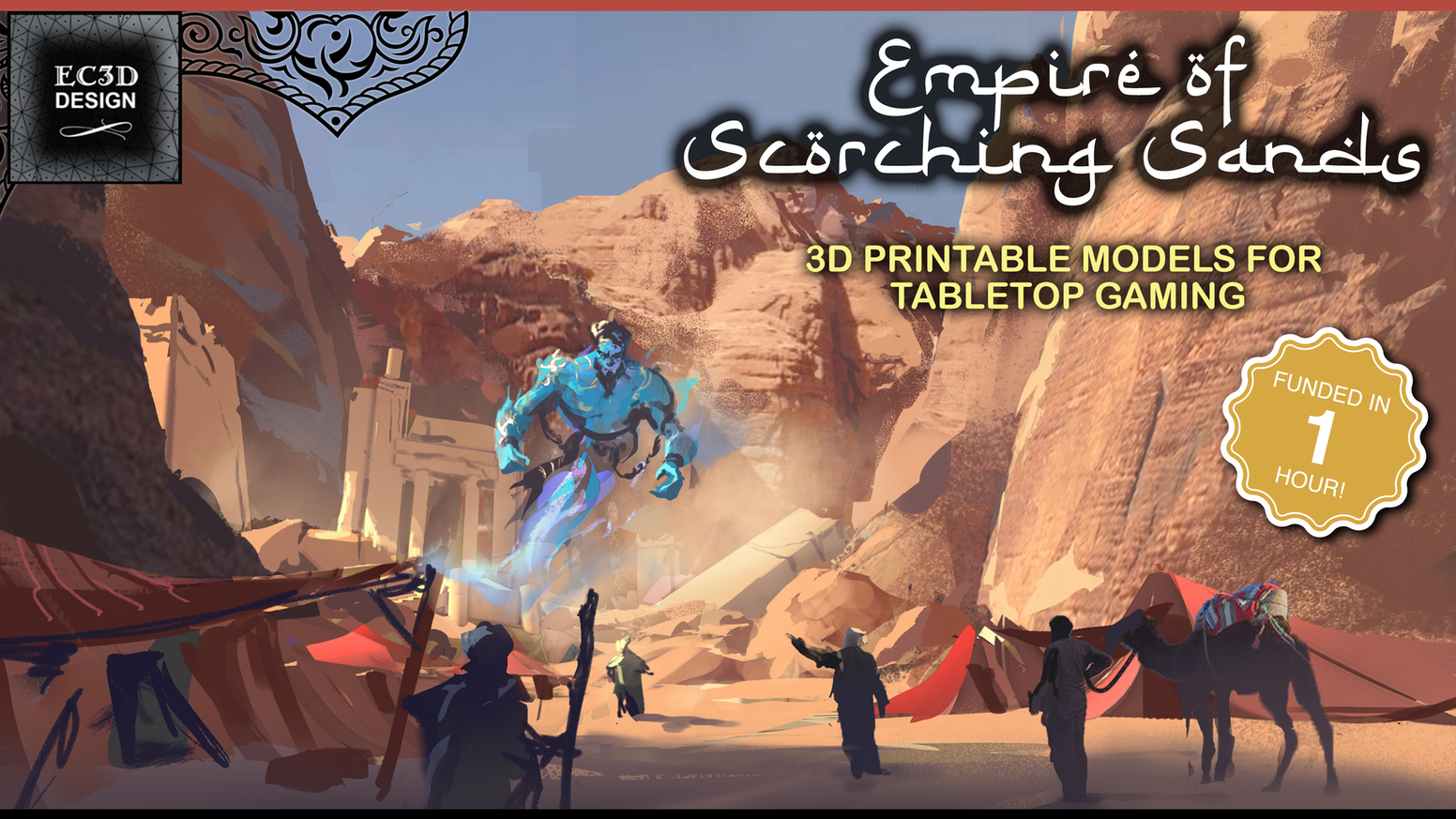 3D printable STL files for RPG / wargaming - support-free minis and terrain with a desert/Arabian/Egyptian/Persian theme. Late pledge coming soon!