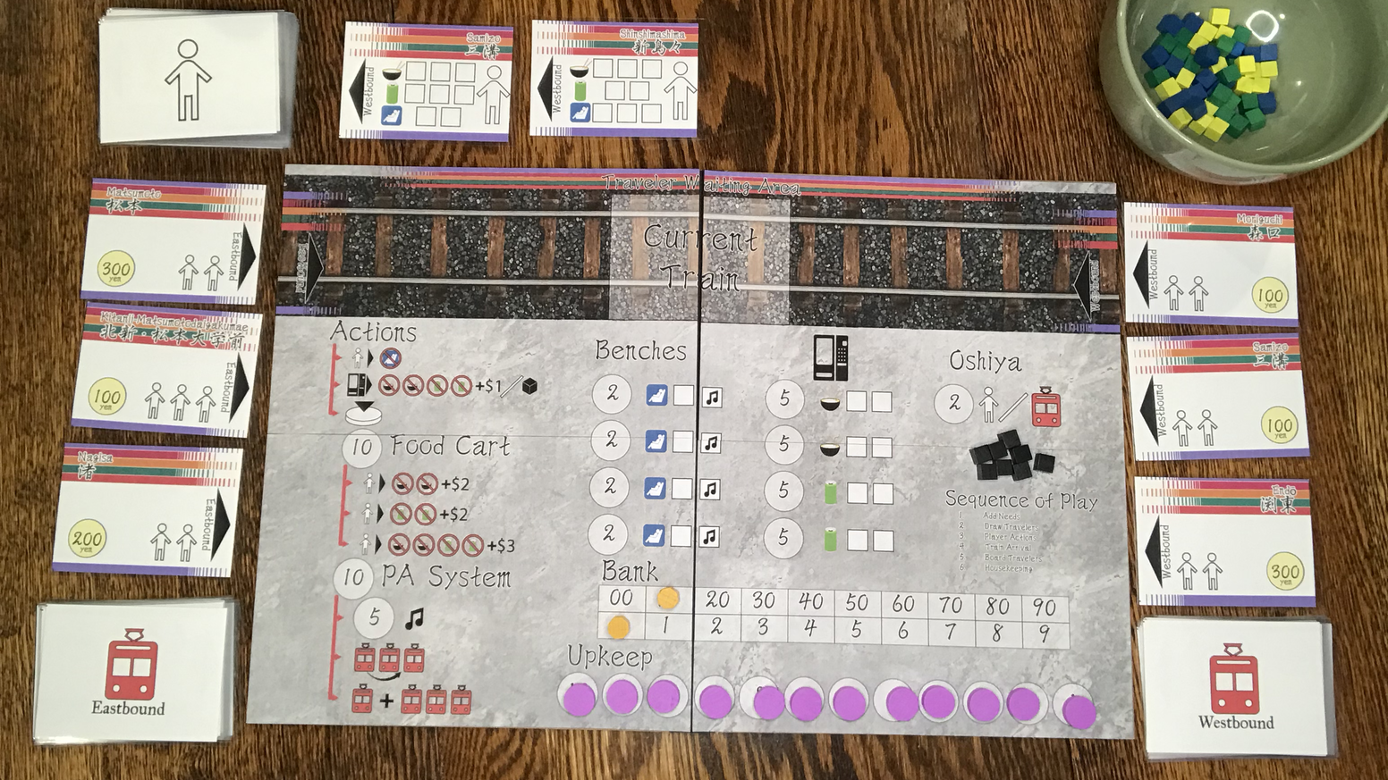 A screen printed board game about running a small train station.