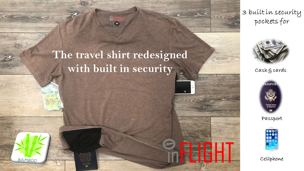 Bamboo travel shirt with built in security features