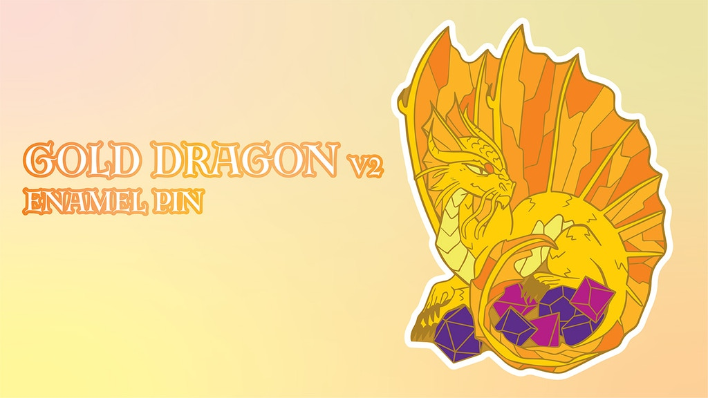Project image for Dice Hoarder Enamel Pins -- Gold Dragon V2