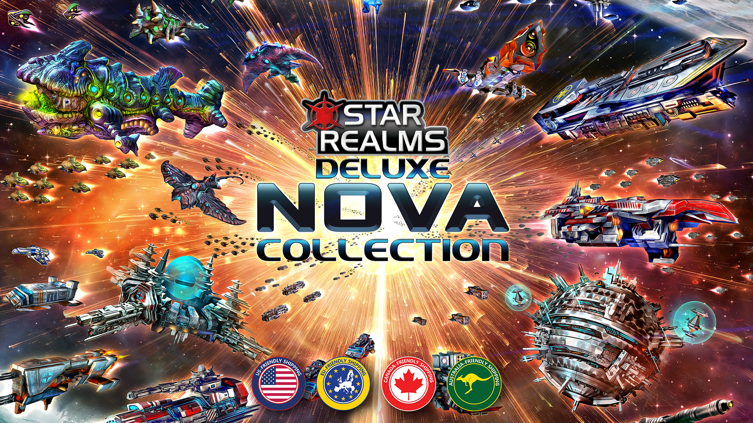 A deluxe 1-6 player Star Realms collection including over 250 foil cards, 6 score dials and a custom game board!
