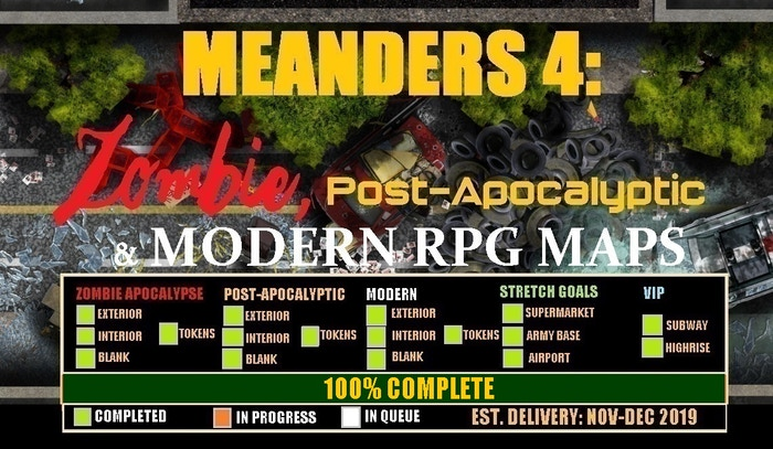 Meanders 4 Digital Modular Maps: Zombie, Post-Apoc and Modern Digital RPG Maps for Print and VTT. Interior, Exterior, Assets and more.