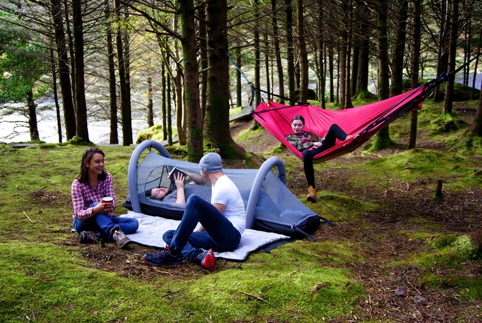 Tent, integrated quilt, insulated and self-inflating mattress, hammock, porch, picnic blanket and more. And they connect together.
