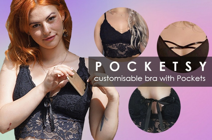 POCKETSY: Customize your bra and store your phone and other valuables!  Comfy, safe and stylish. Produced fairly in EU using sustainable  fabrics. Preorder by clicking the button