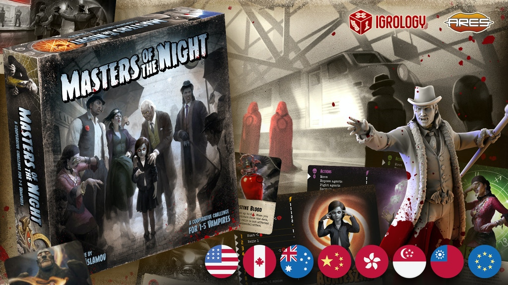 Masters of the Night: solo and cooperative vampire boardgame project video thumbnail