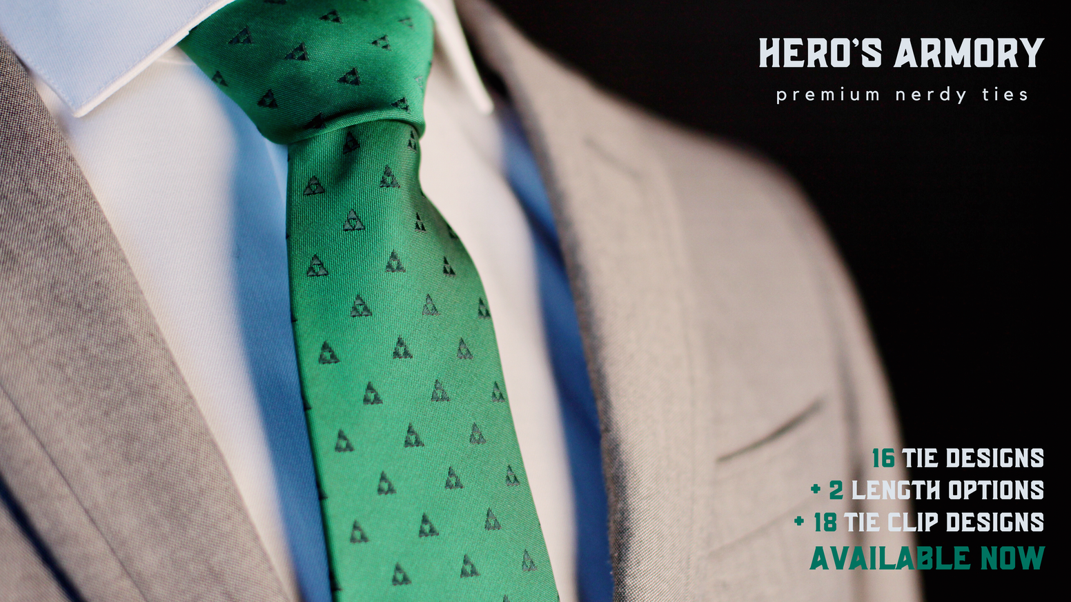 Nerdy ties inspired by your favorite stories (such as Zelda, Star Wars & Lord of the Rings) to accompany your HERO'S ARMORY tie clips.