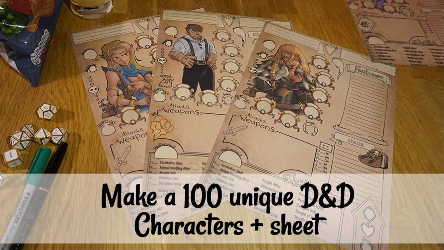 I am making 100 Customized D&D characters+sheets.