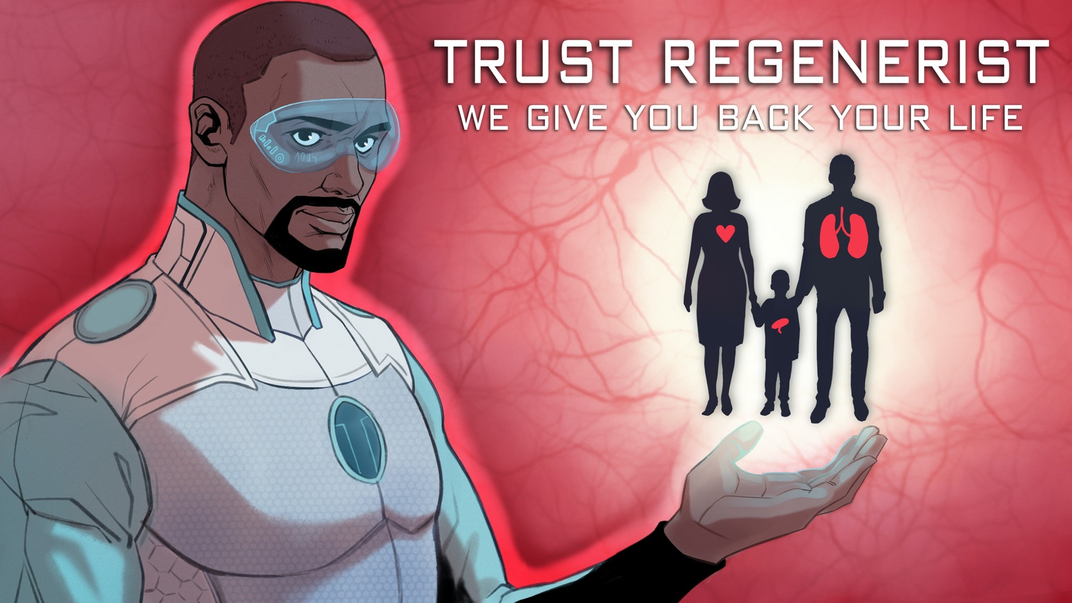 """Set in the future during a pandemic of organ failure, a scientist becomes a victim of his own technology. """"Minority Report"""" meets """"Repo Men."""" 56-page trade paperback collection. #RecognizeKSRU"""