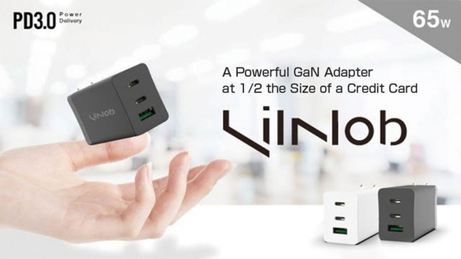 Powered by GaN which enables it to be the smallest possible size | High output of 65W | 2 x USB-C ports & 1 x USB-A
