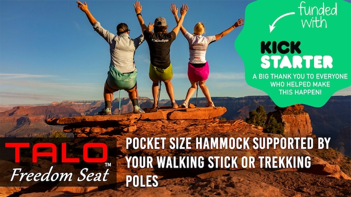 Pocket size hammock supported by your walking stick or trekking poles.