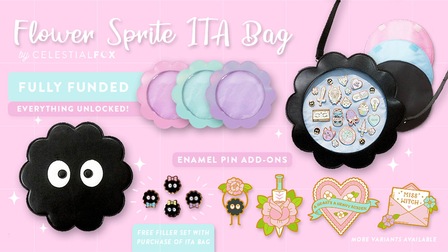 Crossbody faux leather ITA bag to display your pins! ♡ Kickstarter special pricing and freebies ♡