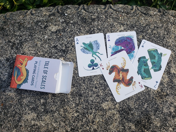 A reptile and amphibian inspired deck of playing cards.  55 Unique illustrations, 56 different reptiles and amphibians.