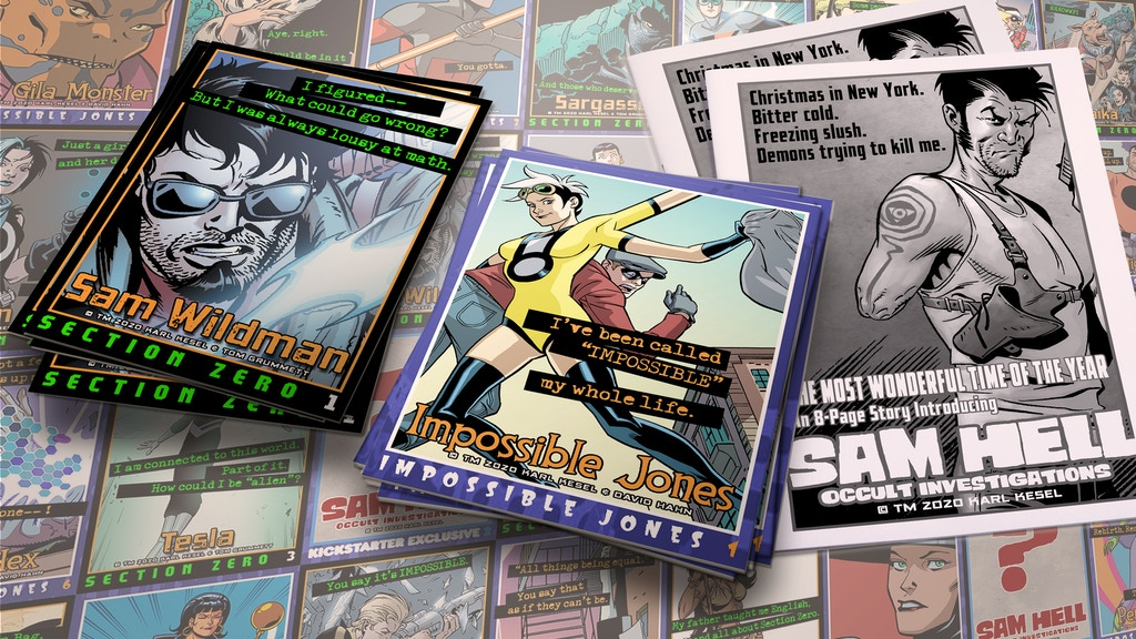 Project image for MAKE 100! SECTION ZERO and IMPOSSIBLE JONES Trading Cards!