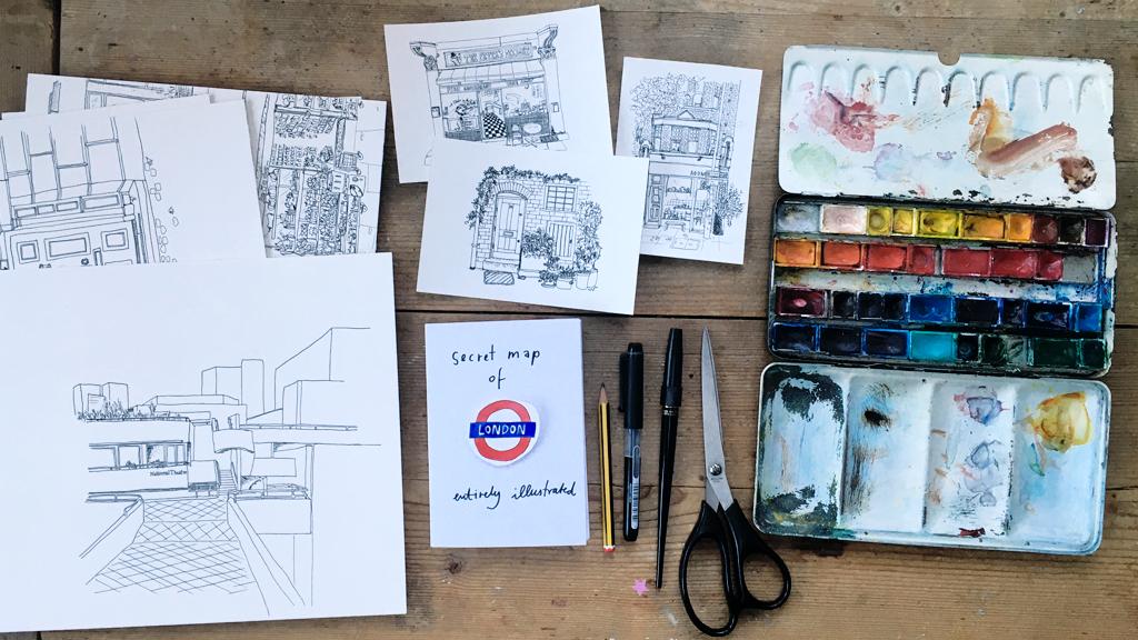 Make 100: Illustrated London - Secret Map and Postcard Set project video thumbnail