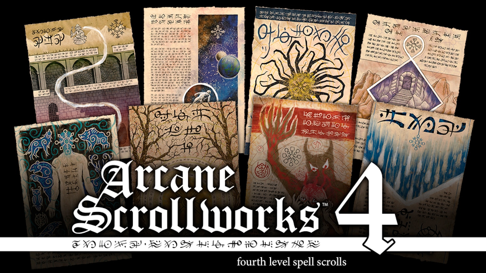 Hand-finished fine art scrolls inspired by popular fantasy RPGs. Suitable for framing or use as props at the game table.