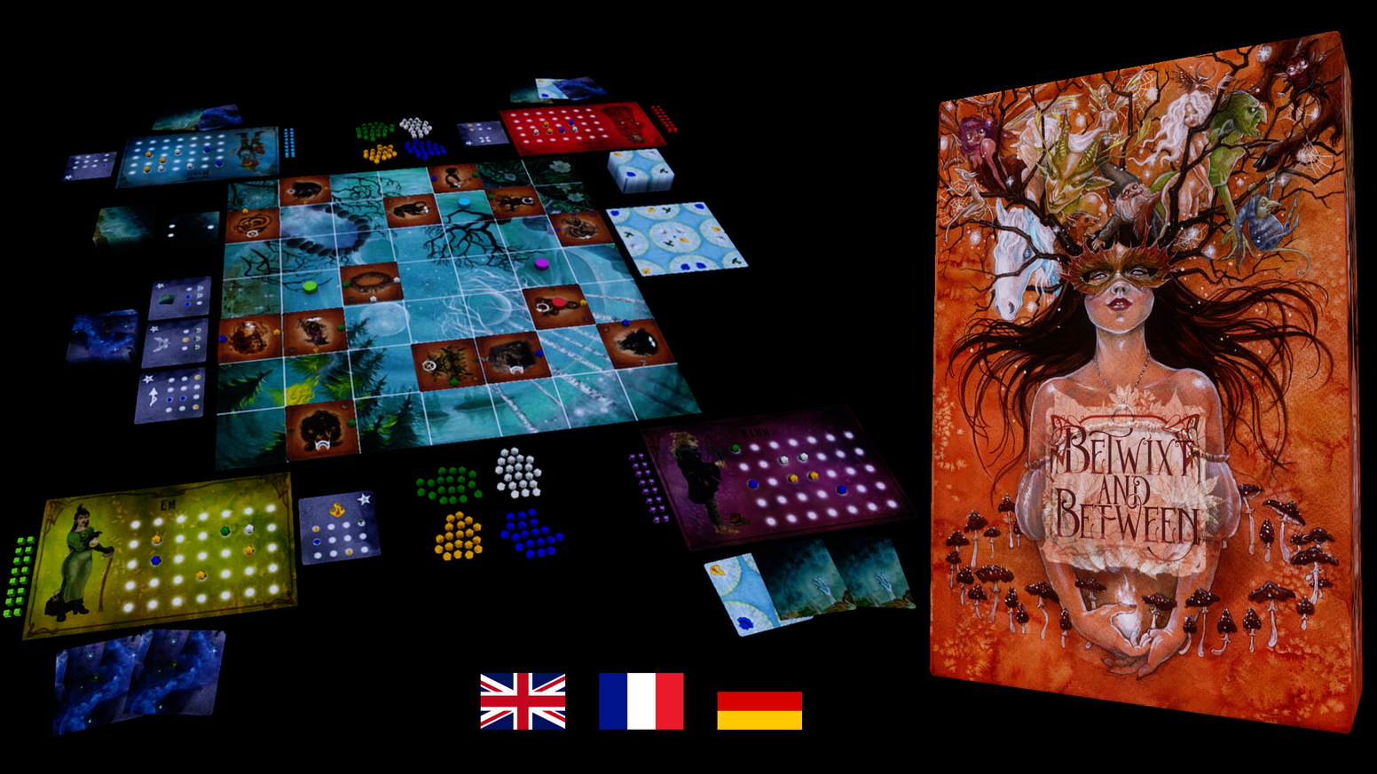 An adventure board game for 1-4 players about eerie European folklore with euro-inspired mechanics and magical creativity!