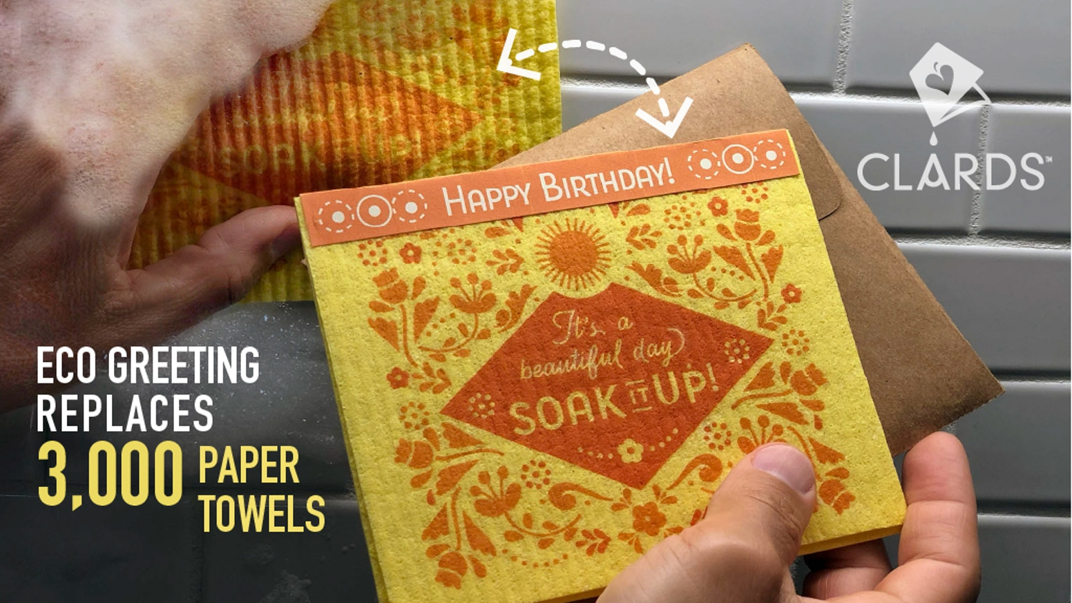 A unique greeting card—rinse & it magically transforms into eco-friendly, reusable cleaning cloths = to 3000 paper towels!