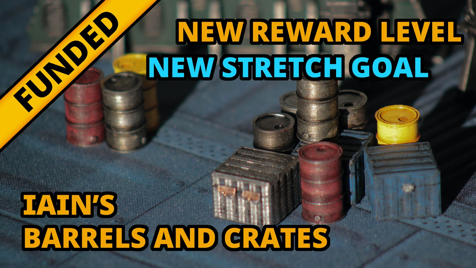 Pre-painted scale model barrels and crates, tabletop ready, for use as terrain and obstacles in modern/sci-fi roleplaying and wargames.