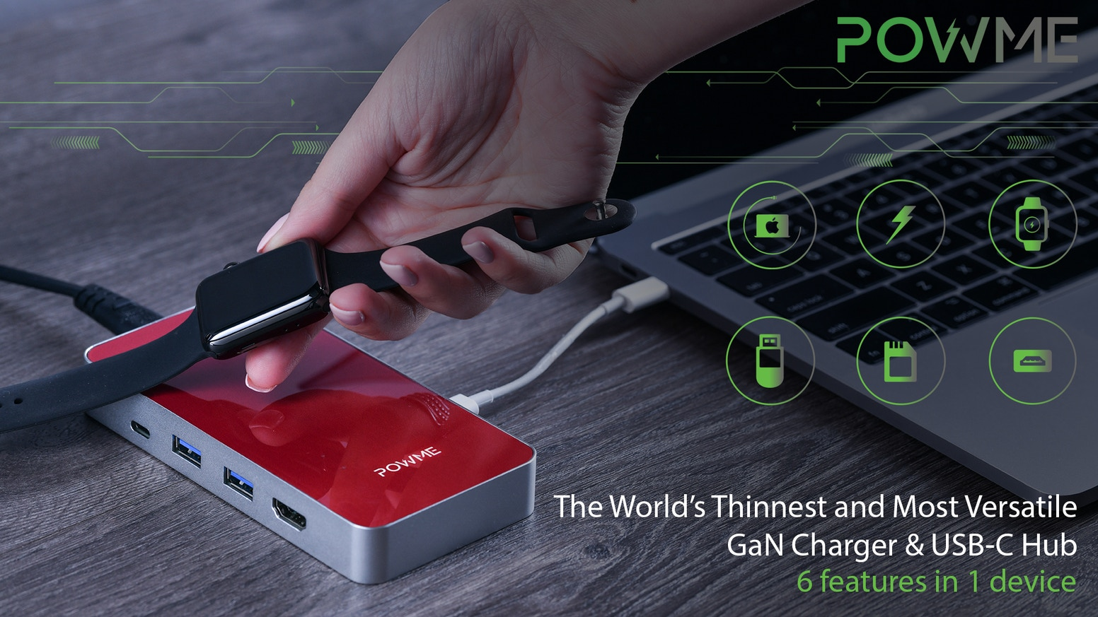 One stylish gadget to charge your Laptop, Smartphone, Smartwatch, Airpods with integrated USB-C Hub.