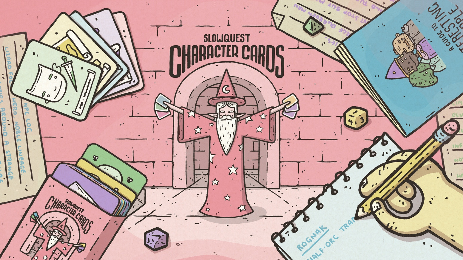 A thoughtfully illustrated deck of cards designed for creating interesting characters for your favourite fantasy RPG games.