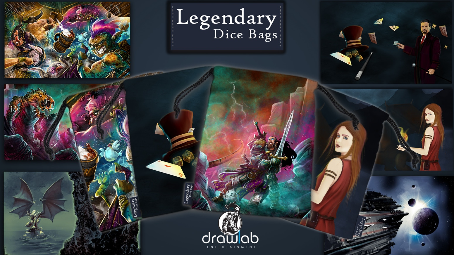Full printed and durable microfiber dice bags with art from your favorite board game artists. Store dice, coins, tokens and more.