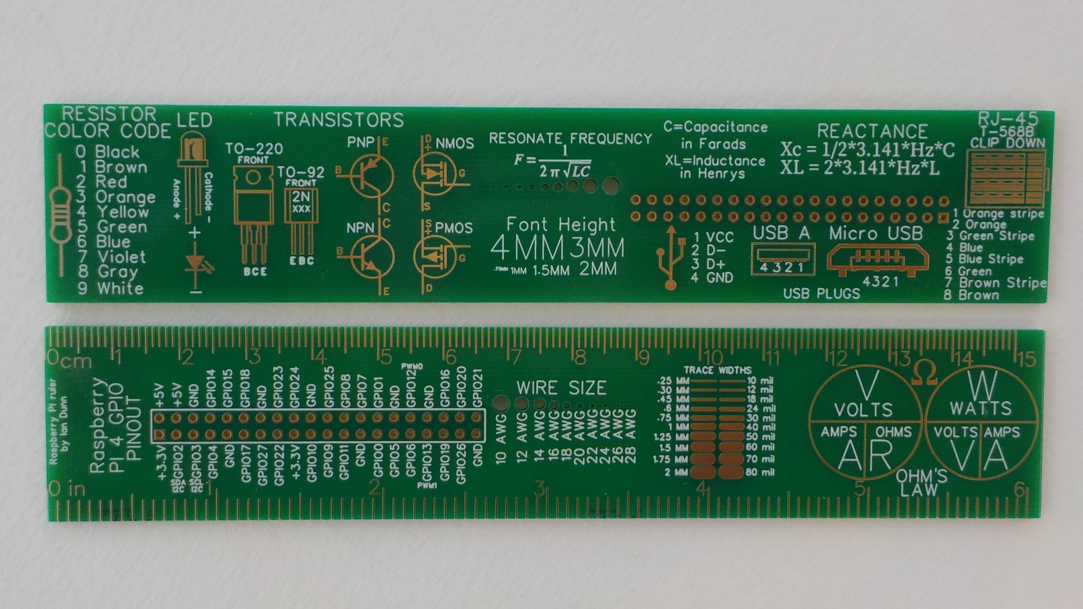 The Raspberry PI and Electronics Printed Circuit Board Ruler