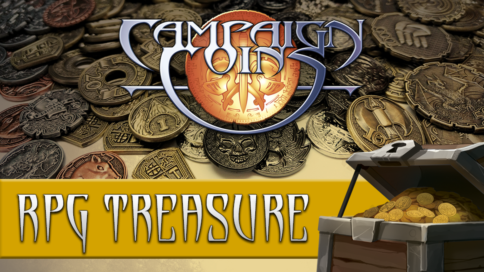 Beautiful metal coins for tabletop fantasy roleplaying games.