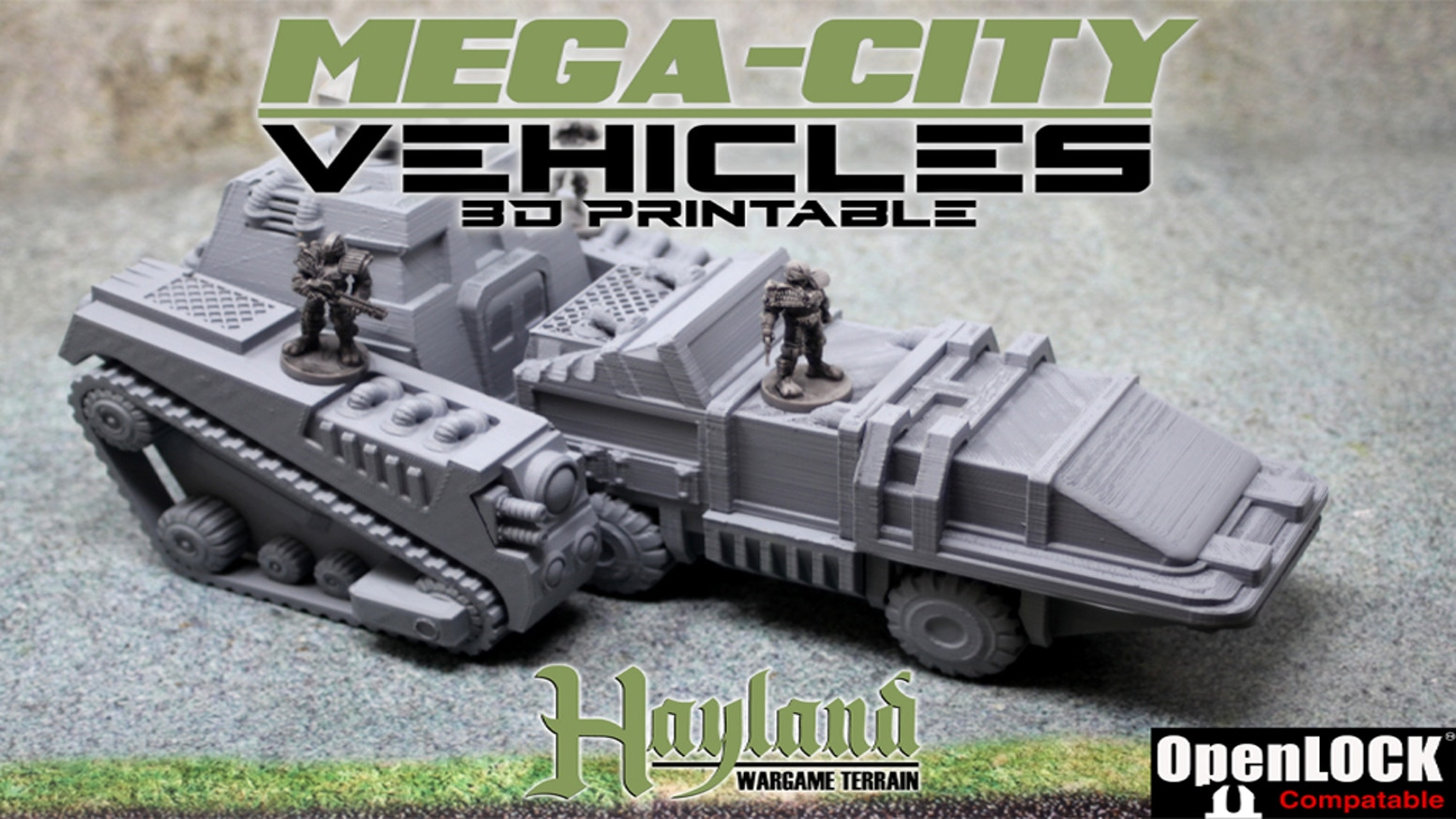 28/32 mm Support-less 3D Printable Sci-fi Vehicles & Accessories - Openlock & Small Print Bed Friendly - 8 Stretch Goals Unlocked!