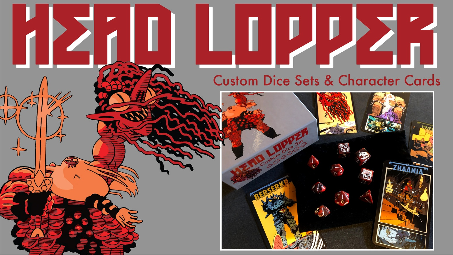 Exclusive Official Head Lopper Custom RPG Dice and Character Cards