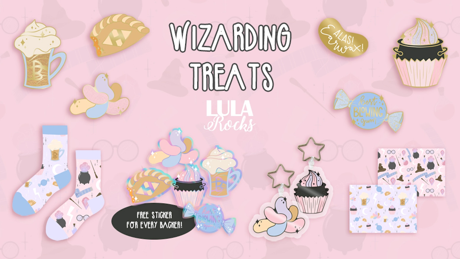 Wizarding Treats. A series of magical items including glitter enamel pins, key rings & socks!