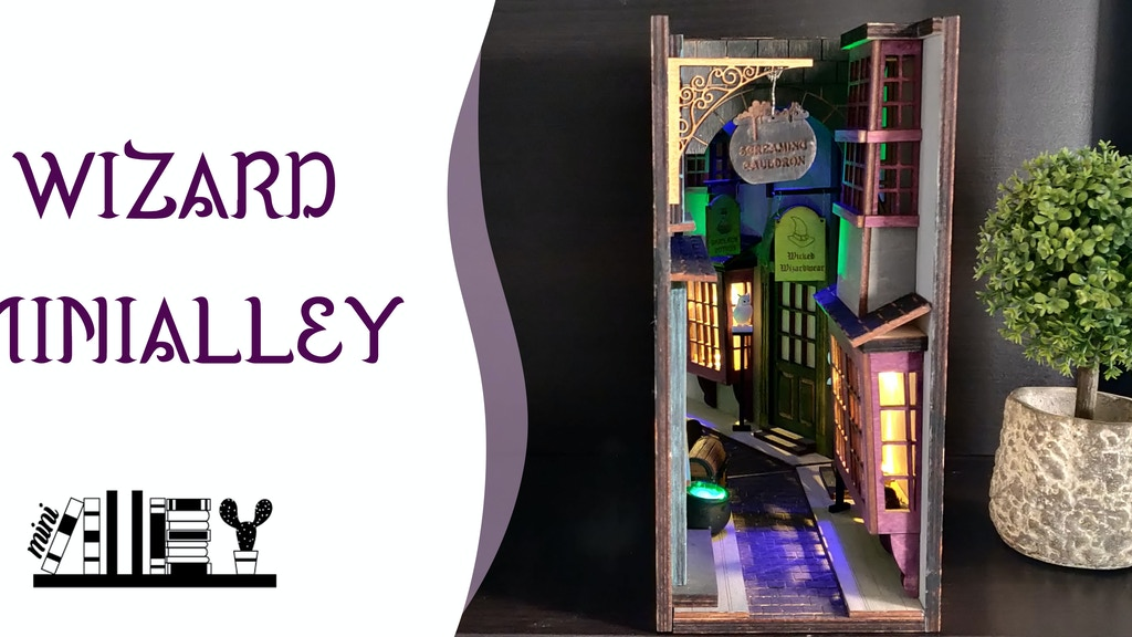 A cozy wizard shopping alley on your bookshelf