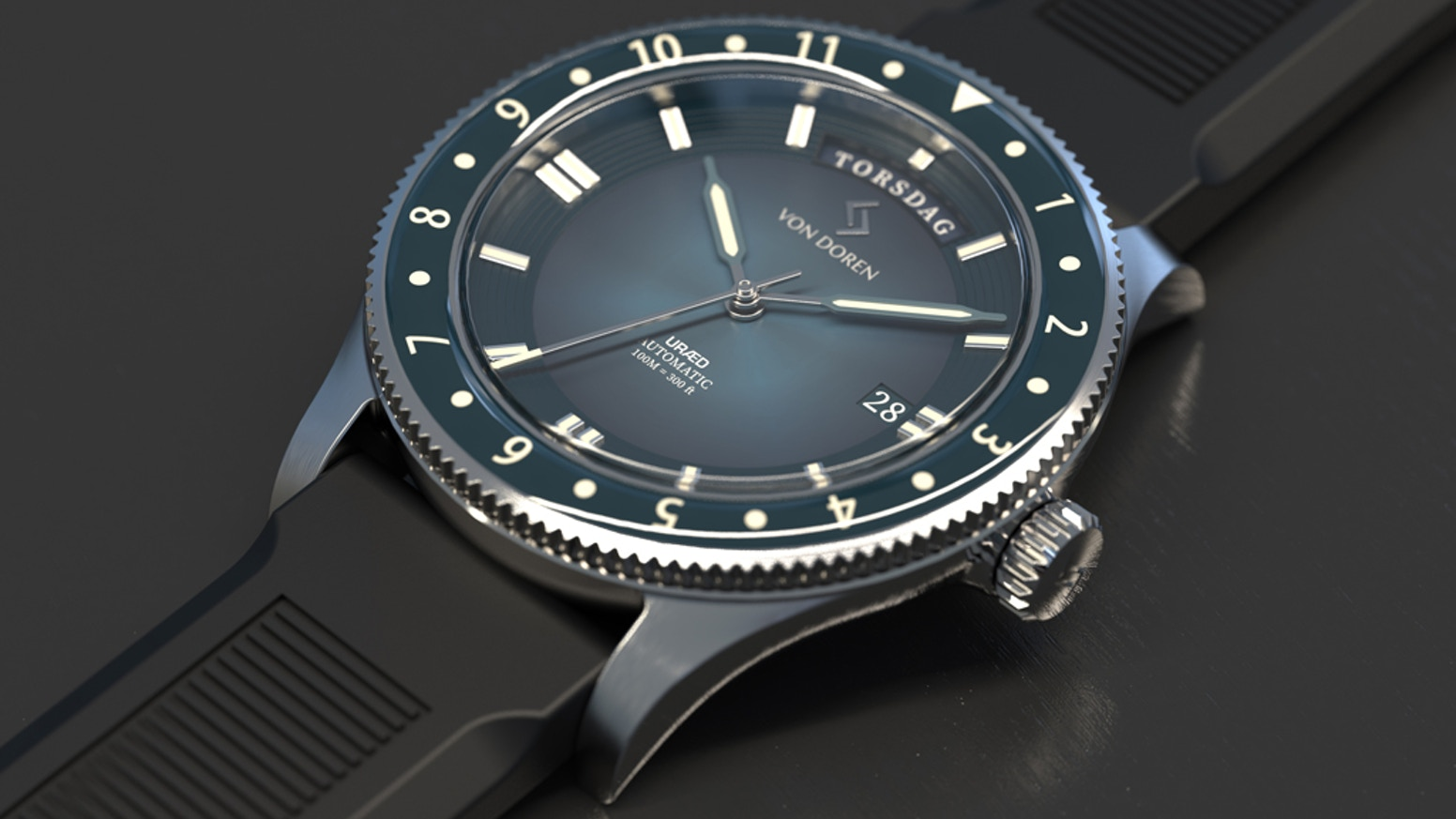A truly unique Timepiece designed in Norway. In honor of the fearless crew aboard the lifeboat URÆD that crossed the Atlantic Ocean