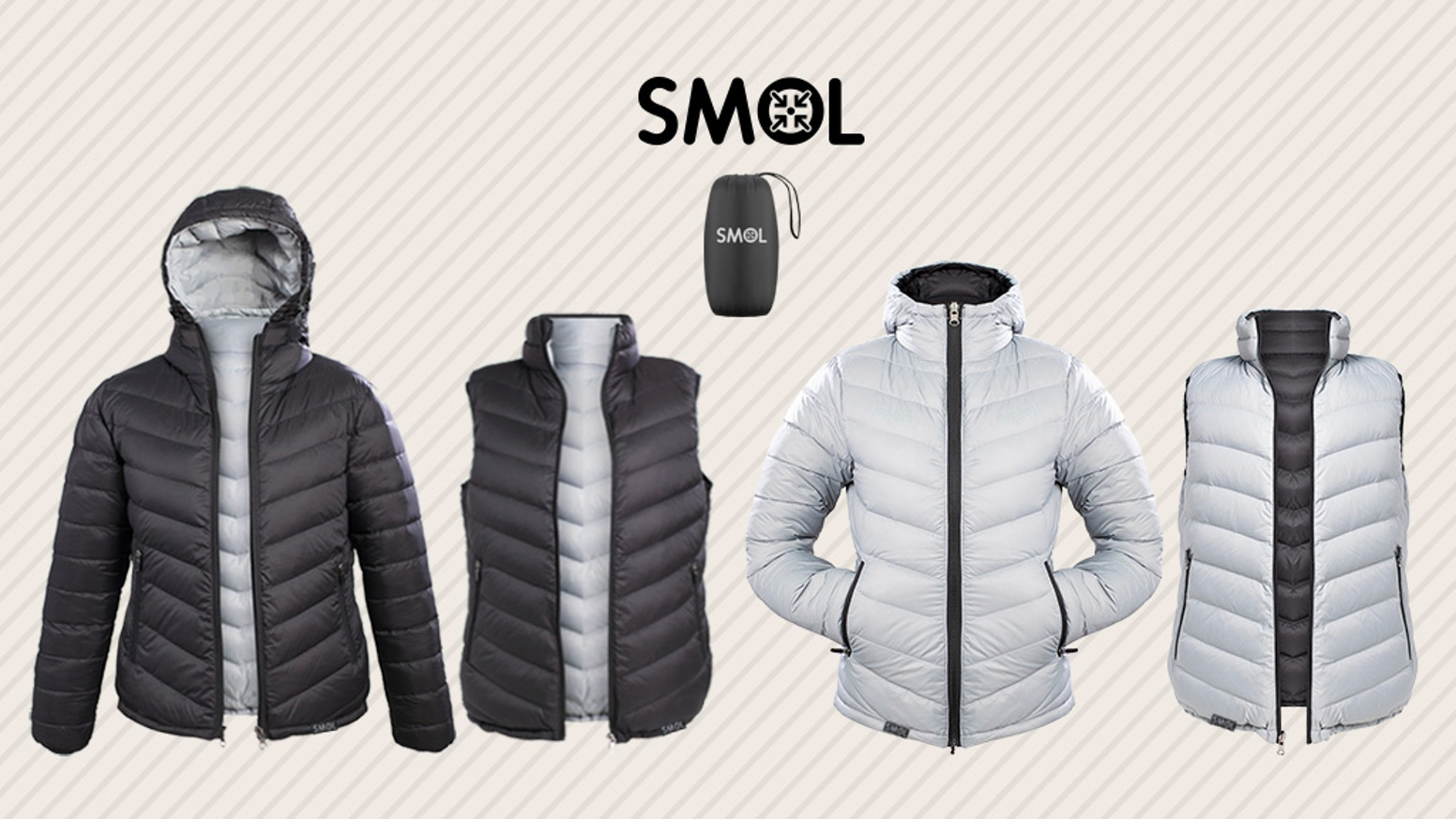Super Warm | Jacket+Vest | All Weather | Reversible | Connectable | Packable | Lightweight | Wind Proof | Washable | Animal Free