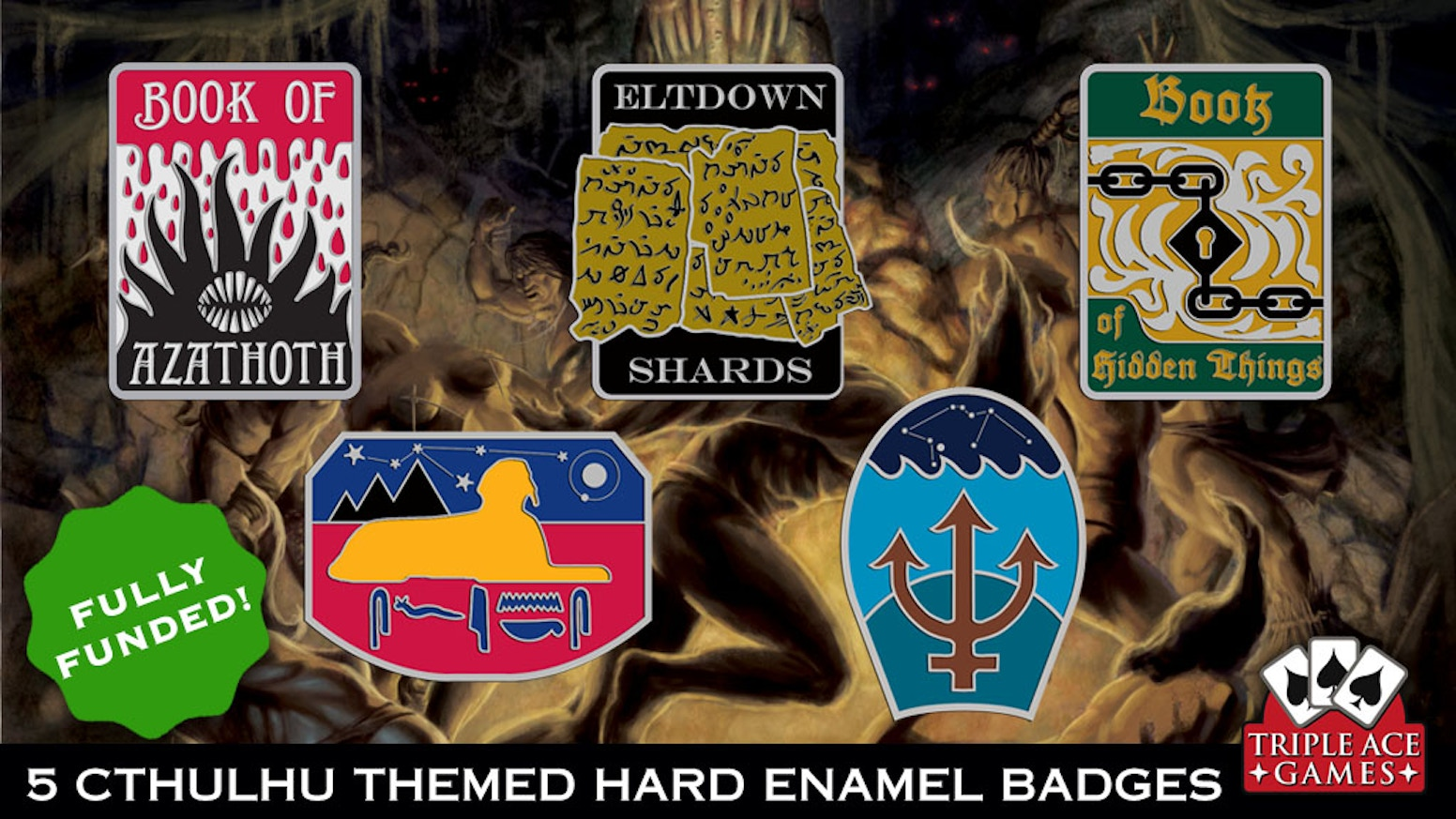 A set of five Cthulhu themed badges to show your knowledge and allegiance to the great old ones!