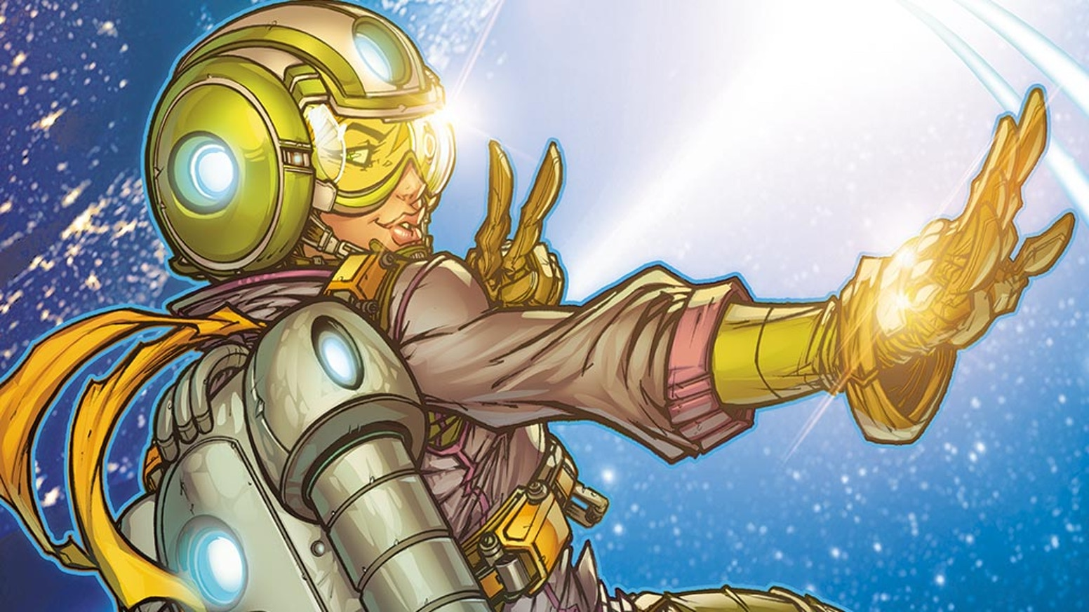 This 17-year-old girl yearns to fly her jetpack across the SOLAR SYSTEM! JUPITER JET returns in a NEW sci-fi adventure graphic novel!