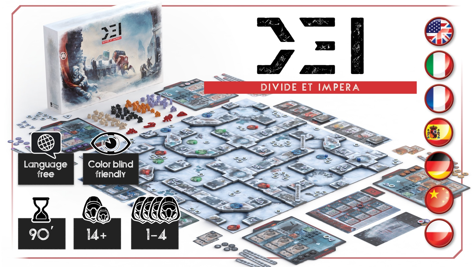 D.E.I. - Divide et Impera is a competitive game based on conquests of resources, set in a world devastated by a New Ice Age