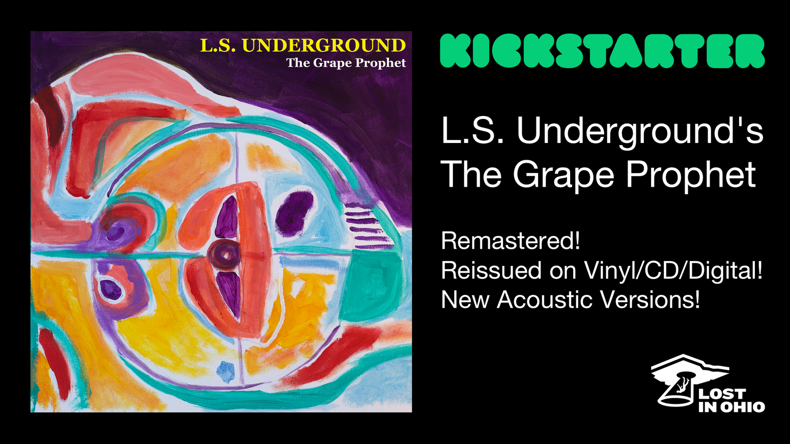 """L.S.U's classic rock opera """"The Grape Prophet"""", remastered for vinyl, CD and digital! Featuring brand-new acoustic recordings!"""