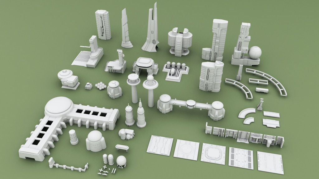 Project image for 3D Printable Sci-fi Buildings for Tabletop Wargames Set #2