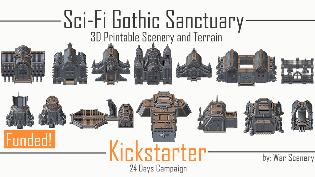 Sci-Fi Gothic Sanctuary - 3D Printable Cathedrals, Bunkers, Relics, Scenery, Fortifications and Scatter Terrain