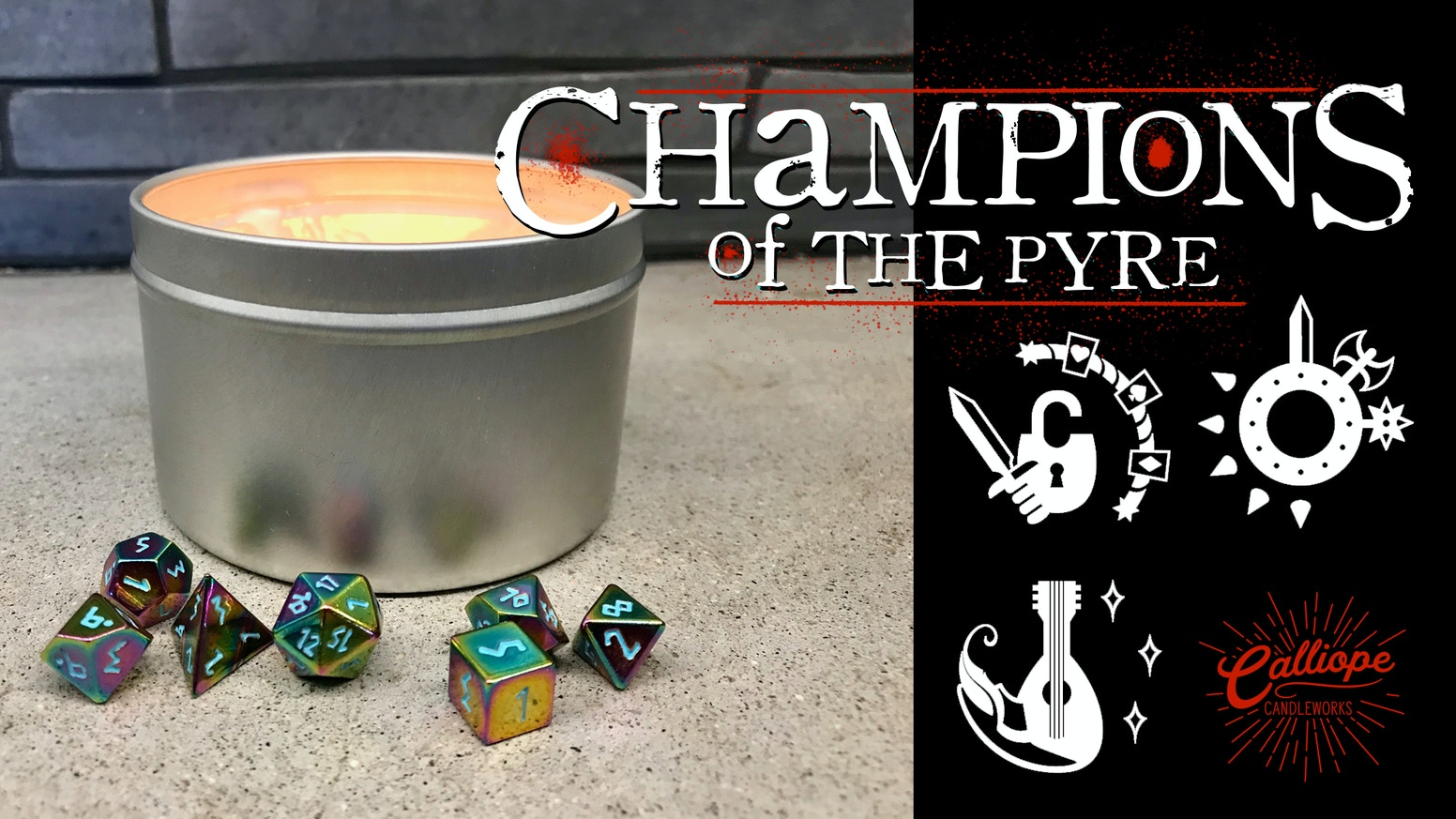 Champions Of The Pyre Candle Set With Embedded Metal Dice By Lauren Rock Kickstarter Norse foundry is raising funds for legacy of mana: champions of the pyre candle set with