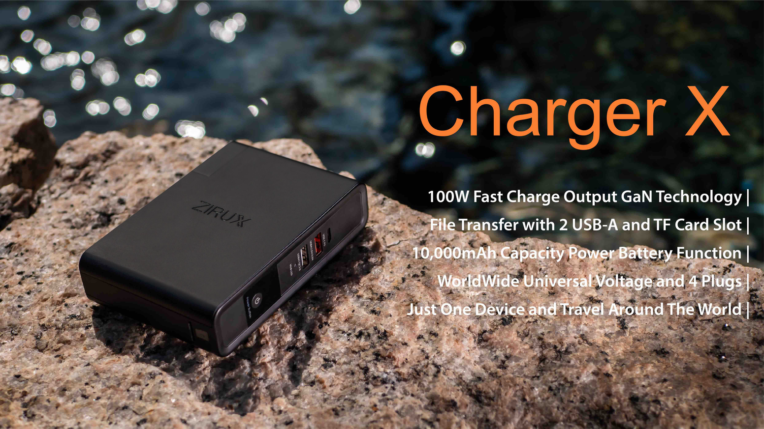 100W Fast Charge Output GaN Technology | File Transfer with 2 USB-A and microSD Card Slot | 10,000mAh Capacity Power Battery Function