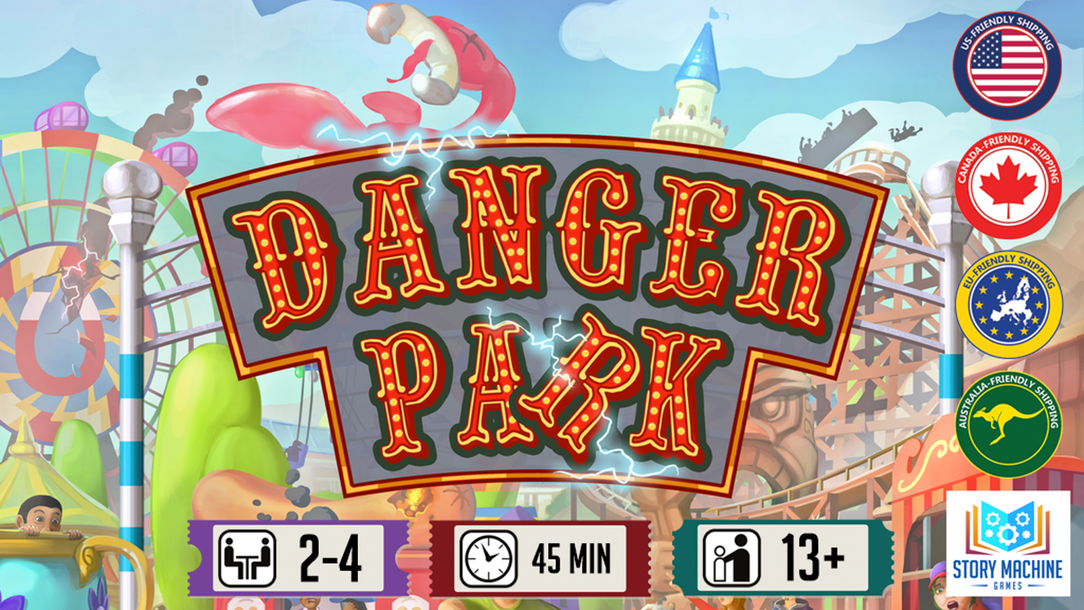 Danger Park is a light-weight map-building tabletop game about sabotage, fraud, and destruction for 2-4 players.