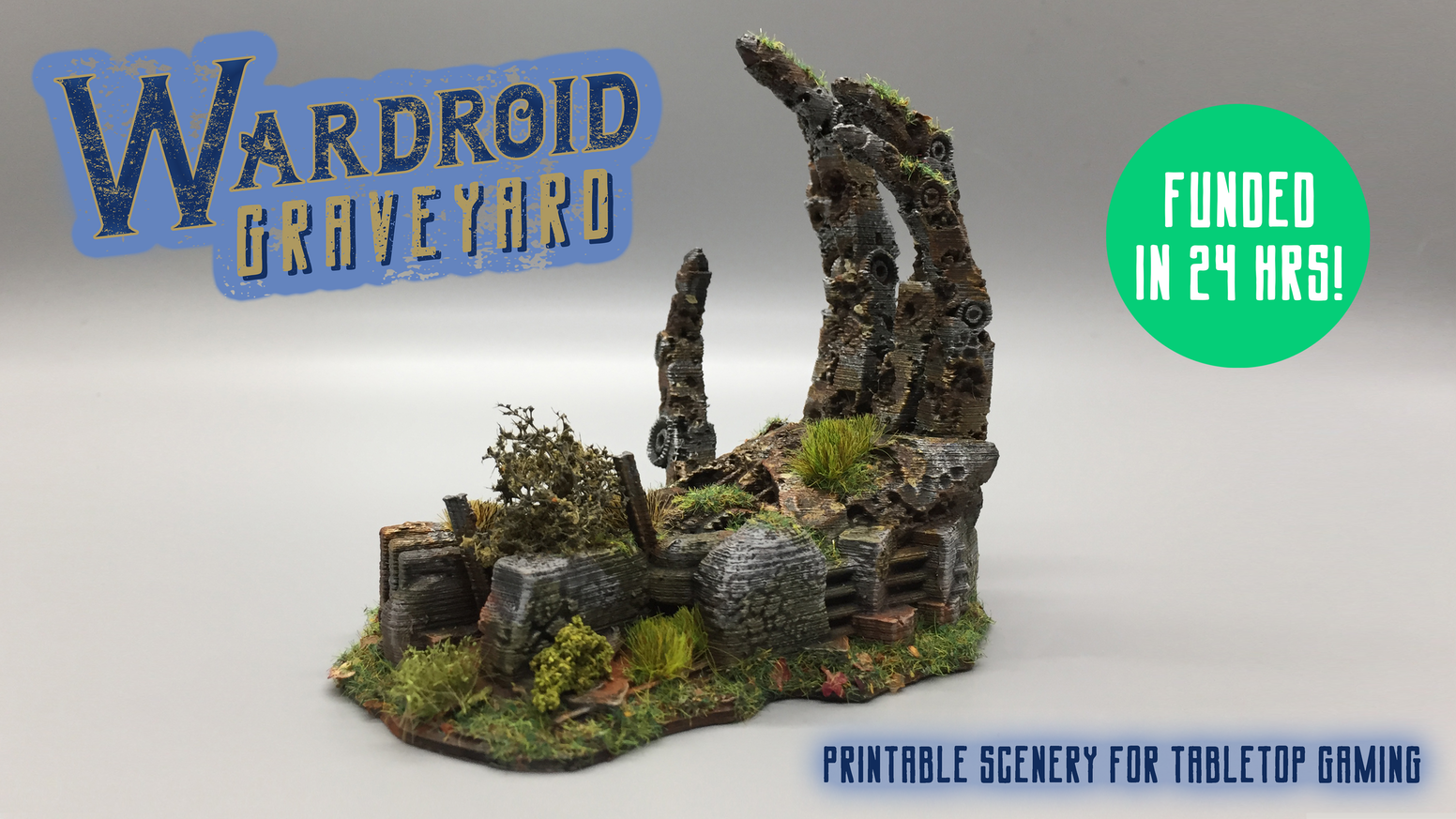 A collection of 3D printable STL files for tabletop gaming. A post-apocalyptic wasteland filled with the remnants of giant Wardroids.