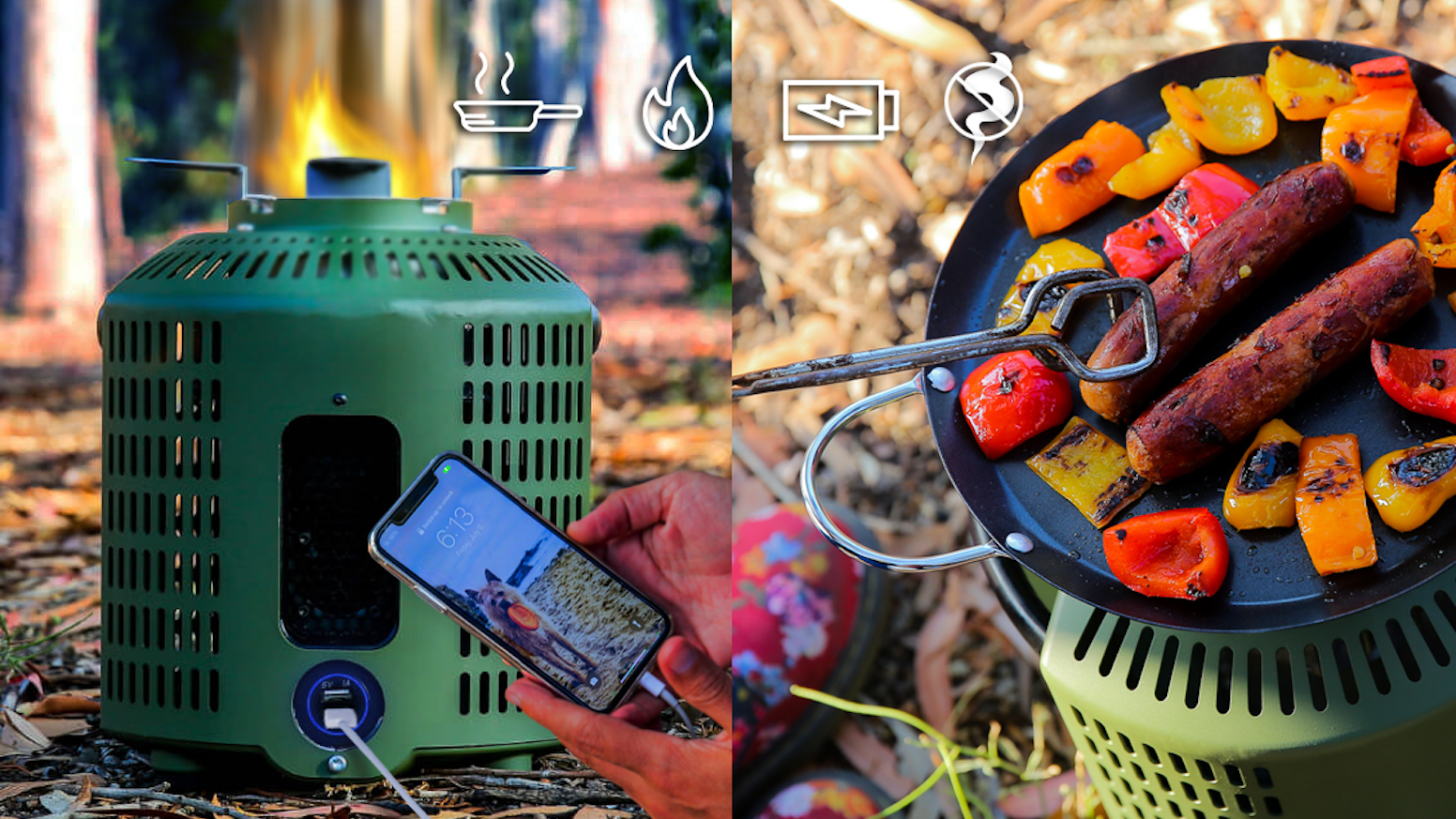 A patented cooking & heating stove that turns fire into 10 Watts of power for USB gadgets - for when you need a charge in the woods.