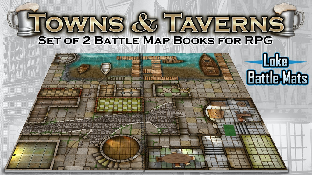 Towns & Taverns. 2 Modular Books of Battle Mats for Roleplay project video thumbnail