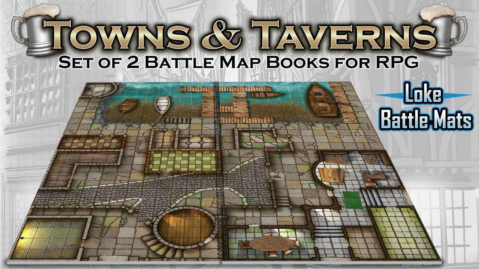 Attention Adventurers! Encounter 2 adaptive battle map books for tabletop roleplay which align to create 1 epic evolving urban map.