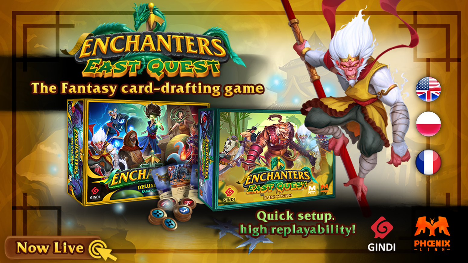 Play an Enchanter and protect your village from monsters in this 1-4 player card-drafting game by forging infinite combos of Artifacts!