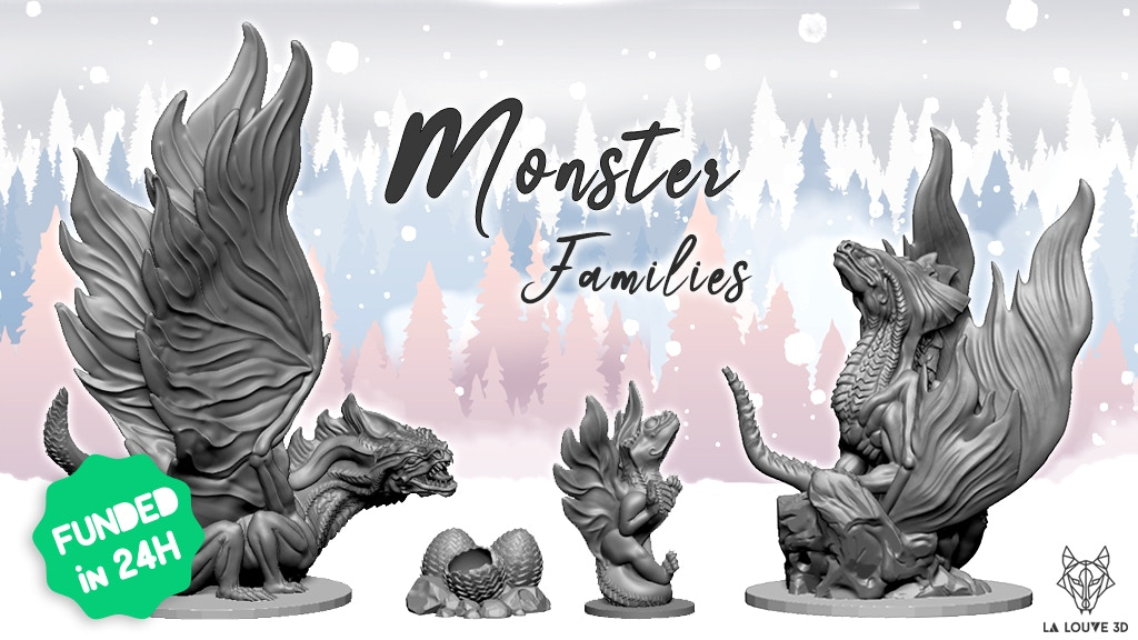 Monster Families - 3D supportless printable miniatures project video thumbnail