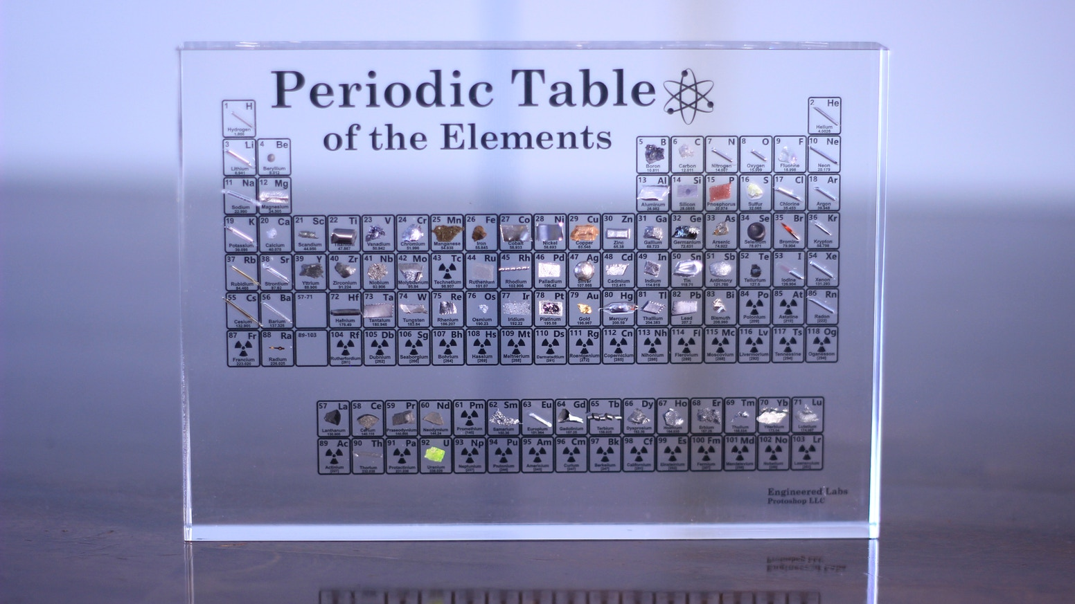 An elegant element collection in beautiful Lucite acrylic. For scientists, educators, and enthusiasts.